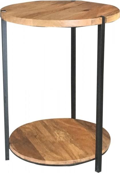 Beistelltisch Rund Schwarz Metall Holz Braun Mangoholz Industrial Vintage Natur