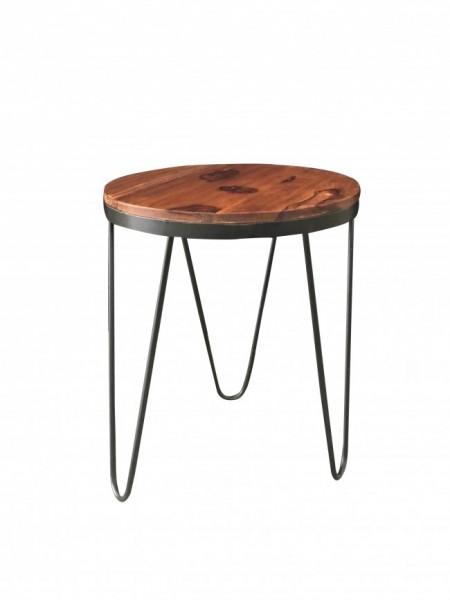 Beistelltisch Schwarz Metall Holz Massiv Braun Industrial Vintage Design