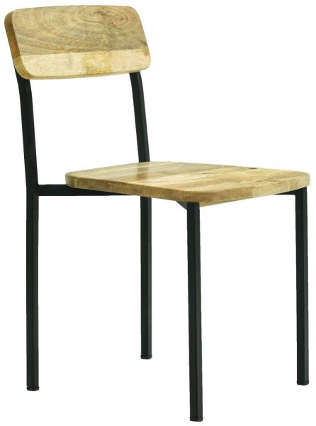 Stuhl Esszimmerstuhl Schwarz Küchenstuhl Massivholz Vintage Retro