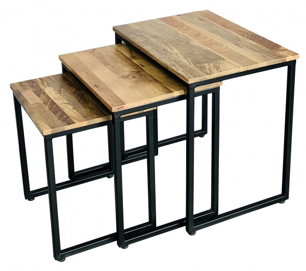 Beistelltisch 3er Set Schwarz Metall Holz Braun Mangoholz Industrial Vintage
