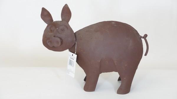 Schwein Glücksschwein Metall Skulptur braun Vintage Dekoration Deko Loft Industrial