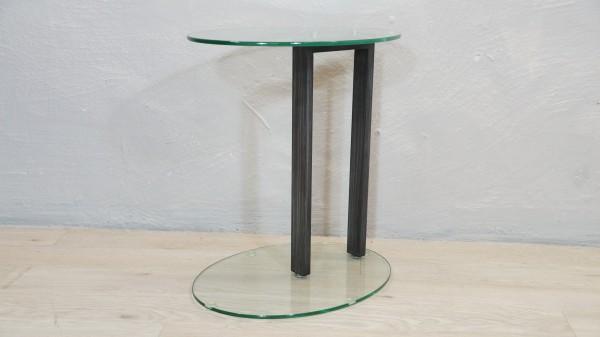 Beistelltisch modern Couchtisch Glastisch grau Metall Glas Oval Ausstellungsstück Sicherheitsglas