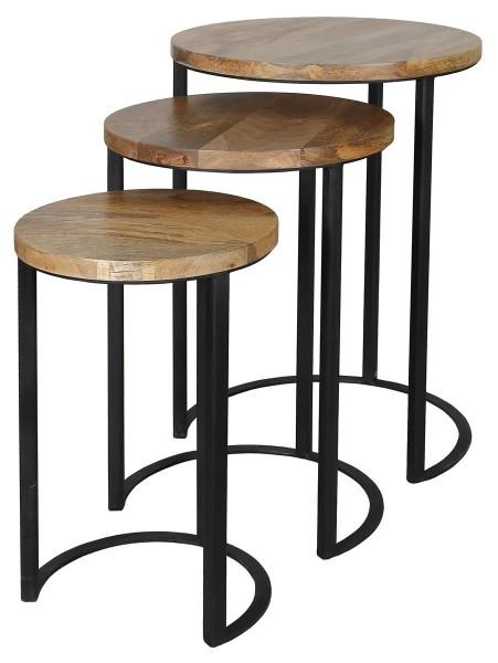Beistelltisch 3er Set Schwarz Metall Holz Braun Mangoholz Industrial Vintage Rund
