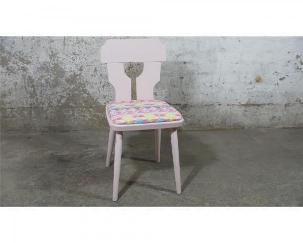 Stuhl Rosa bunte Sitzfläche Kneipenstühle Vintage massivholz Upcycling