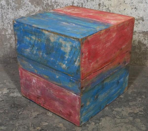 Hocker Beistelltisch Würfel Holz Treibholz Bunt Loft Dunkelblau Rot Shabby Chic Modern Upcycling