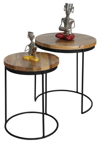 Beistelltisch 2er Set Schwarz Metall Holz Braun Mangoholz Industrial Vintage Rund