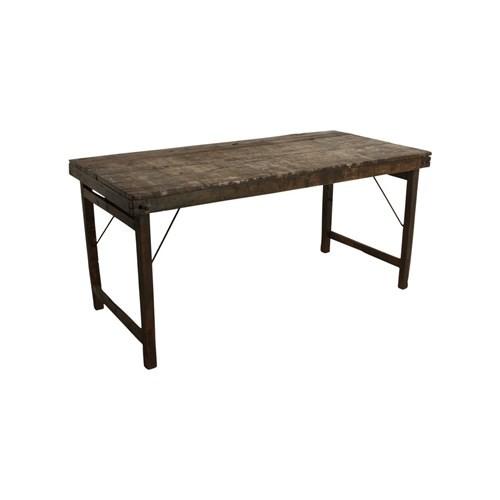 Esszimmertisch Esstisch Schreibtisch Industrial Design Vintage Klappbar Holz Dunkelbraun