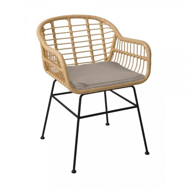 Gartenstuhl Stuhl Terrassenstuhl Rattan Lehne Armlehne Metall Modern