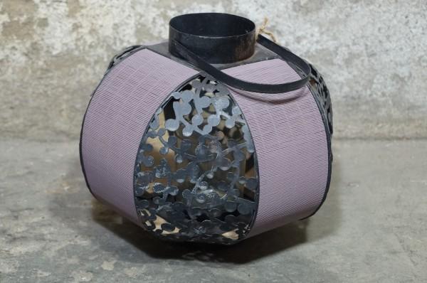 Laterne rund Deko Metall Holz gefärbt Flieder Taupe Shabby Chic