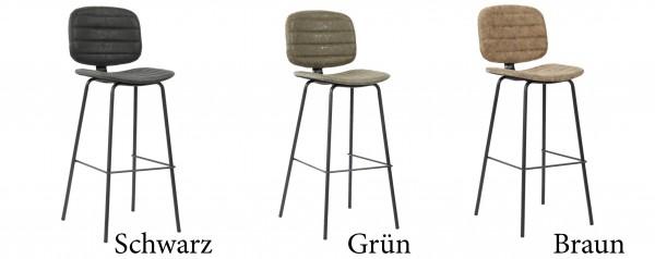 Barhocker Stuhl Metall Stoff Küchenstuhl Polsterstuhl Industrial Retro Leder Vegan