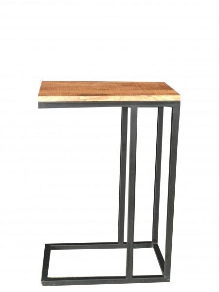 Beistelltisch Schwarz Metall Holz Braun Mangoholz Industrial Vintage Design