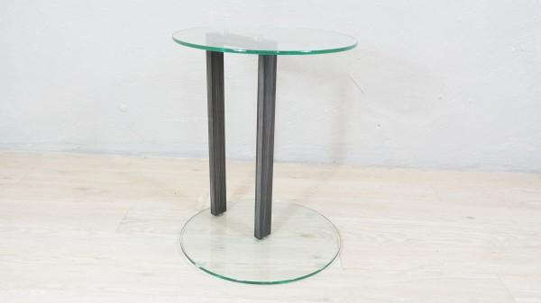 Beistelltisch modern Couchtisch Glastisch grau Metall Glas Rund Ausstellungsstück Sicherheitsglas