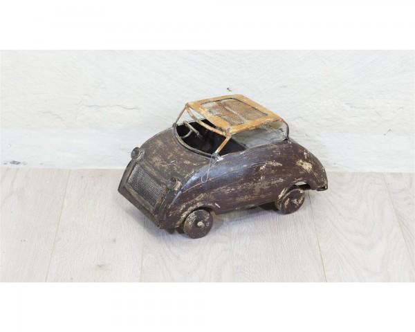 Auto Miniatur Skulptur Metall braun beige Handarbeit Unikat Vintage Oldtimer Deko