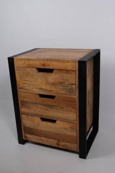 Beistelltisch Nachttisch Schubladenkommode Kommode Massivholz Metall Industrial Design