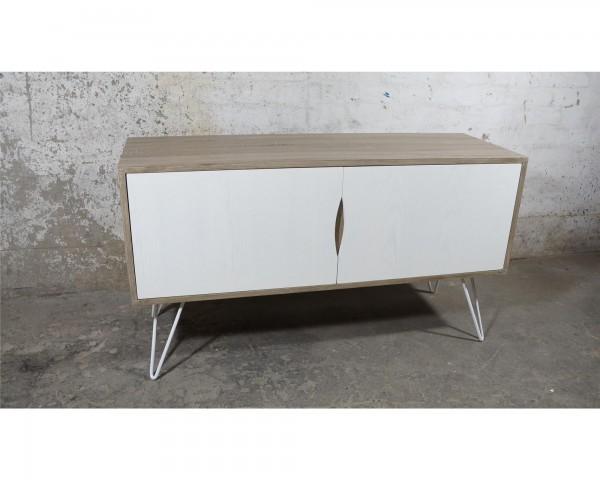 Kommode TV Board Lowboard sideboard Anrichte weiß Metall Holz Natur Industrial Skandinavisch