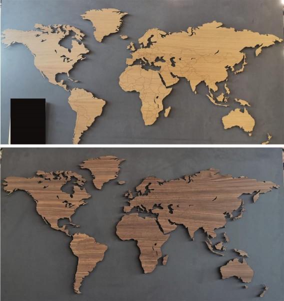 Weltkarte Holz Karte Landkarte Rustikal Natur Design