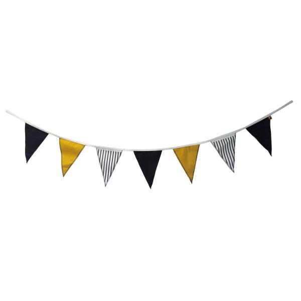 Girlande Stoff Canvas Wimpelgirlande gelb schwarz beige Party Kinderzimmer Wimpel