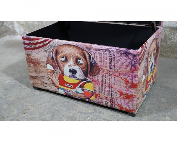 Hund Motiv Sitztruhe Aufbewahrung Sitzbank Polster Wäschebox Soft Close B ware