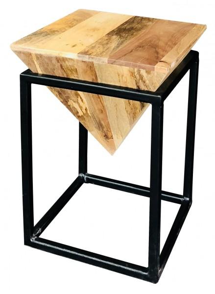 Beistelltisch Diamond Small Abstrakt Geometrisch Metall Schwarz Vintage Holz Natur Mangoholz