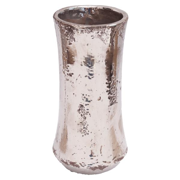 Extravagante schlanke silberne Keramik Dekovase Wohnliebhaber Vase 25,5cm 1.390g