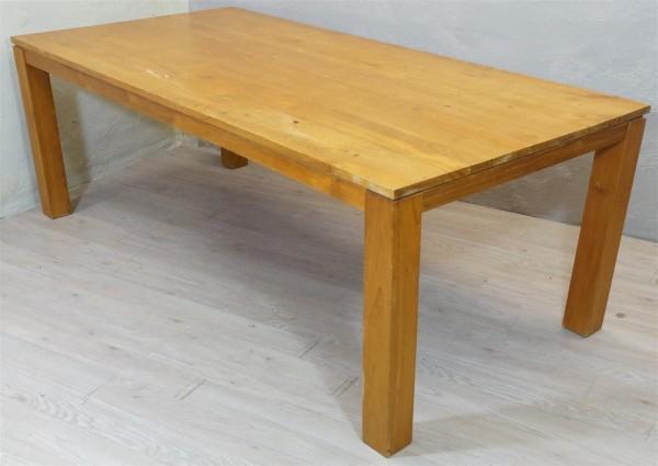 Esstisch Tisch hell Tafel Massiv Holz braun Rustikal B-Ware Ausstellungsstück