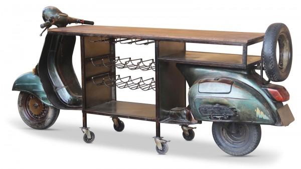 Sideboard Mediaboard Bar Regal Roller Mangoholz Industrial Loft Metall