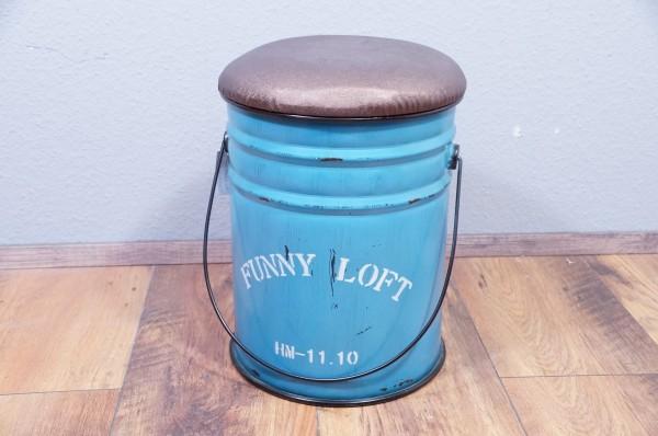 Sitzhocker Blau Truhe Aufbewahrung Metall Tonne Shabby Vintage Sitztonne