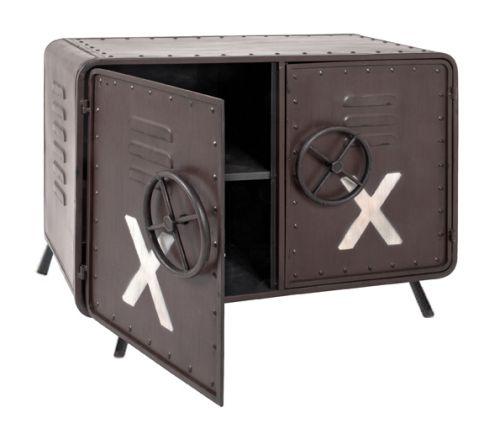 braune vintage metall konsole kommode lowboard im. Black Bedroom Furniture Sets. Home Design Ideas