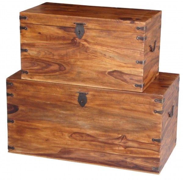 Truhe 2er Set Box Rustikal Massivholz Metall Handarbeit Sheeshamholz Aufbewahrung