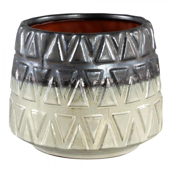 Vase Tischvase Keramikvase Retro Vintage Keramik Rund Dreiecke Creme-Grau