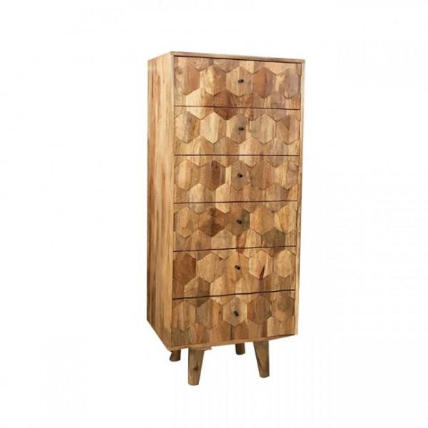 Vintage Kommode Massiv Holz Schubladenkommode Retro Geometrisch Design