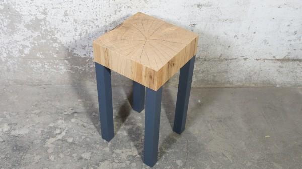 Beistelltisch Kaffeetisch Grau Modern Holz Optik Fotomotiv Baumstamm Optik