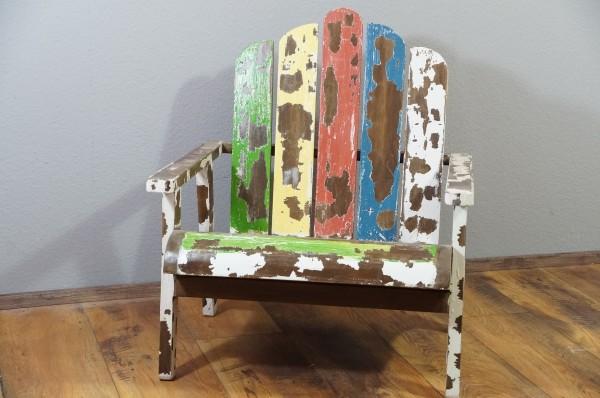 Stuhl Sessel Massiv Mahagoni Holz Shabby Chic Braun Bunt Garten Wohnzimmer