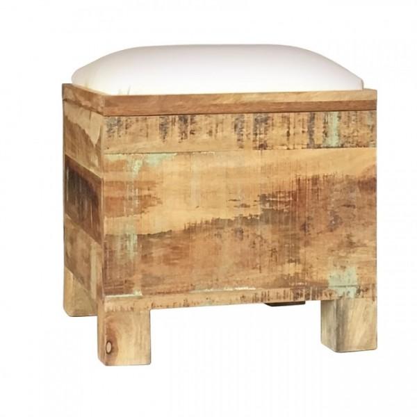 Hocker Single Sitzhocker Holz Massiv Mangoholz Shabby Chic Polster Natur Braun Weiß
