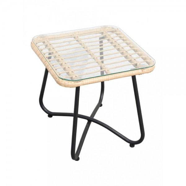 Gartentisch Beistelltisch Terrassentisch Rattan Glas Metall Modern