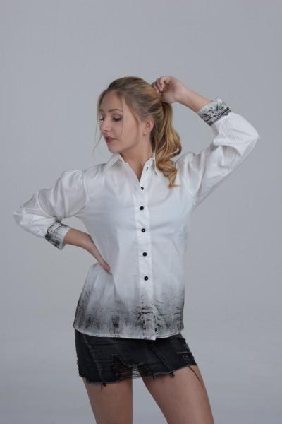 Design Bluse made in Italy weiß schwarz Spraydruck Rock used Knöpfe