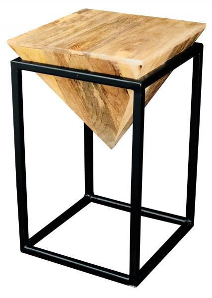 Beistelltisch Diamond Big Abstrakt Geometrisch Metall Schwarz Vintage Holz Natur Mangoholz