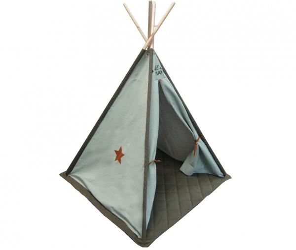 Tipi Zelt Spielzelt Indianer Kinder Mint grün Canvas 140x112 Holz Stabil Fenster Mint grün