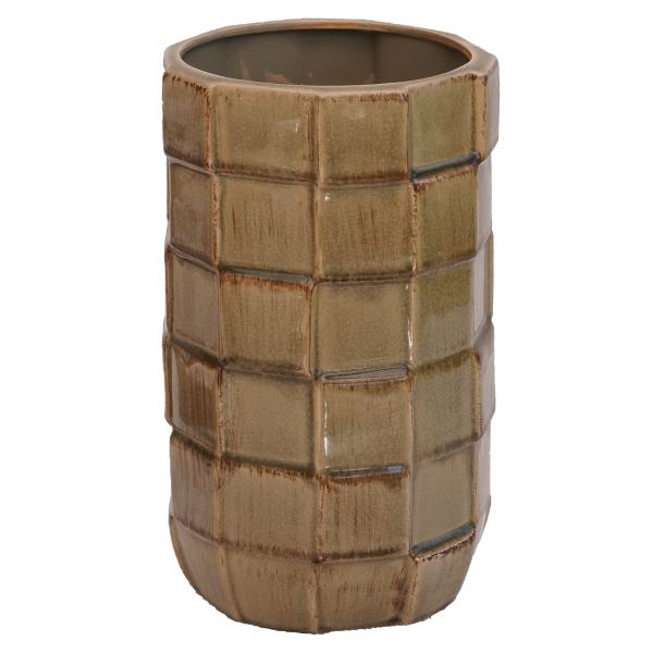 Wohnliebhaber--Vase--Bodenvase--Handarbeit--Heim--Design--Deko--Interior--grau--Retro--70er--mehrschichtig--keramik, braun