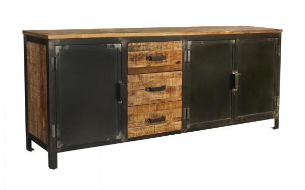 Massivholz Metall Kommode TV Board Steampunk Vintage Industrial Loft Design