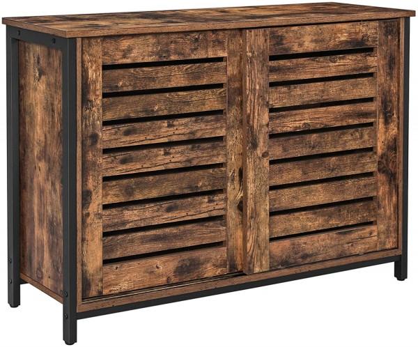 Sideboard Kommode Küchenschrank Schiebetüren Ablage Industrie-Design Vintagebraun Schwarz