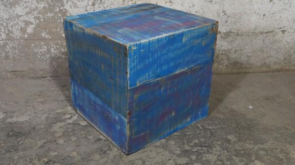 Hocker Beistelltisch Würfel Holz Treibholz Blau Loft Shabby chic Modern Upcycling