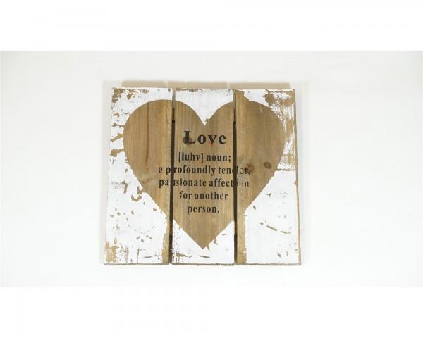 Holz Schild Wandbild Struktur Love Liebe weiß natur Shabby Chic Landhaus Skandi Tafel