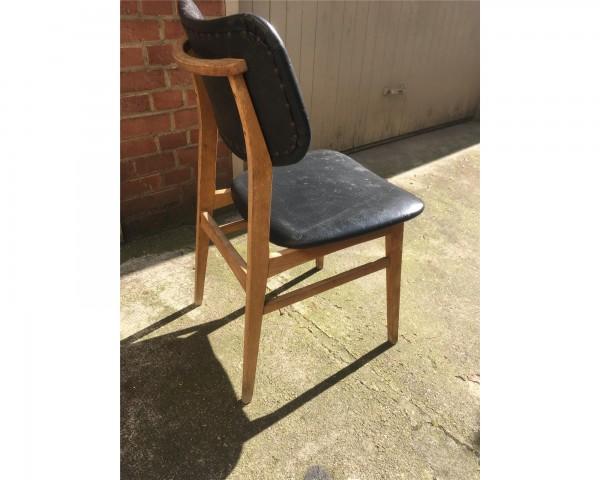 Stuhl Retro Stuhl Antik Leder schwarz Holz massiv Midcentury