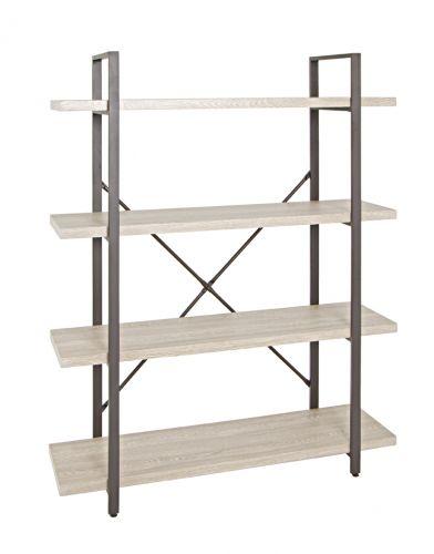 regal eiche hell braun metall modern 4 ablagen b den ebay. Black Bedroom Furniture Sets. Home Design Ideas